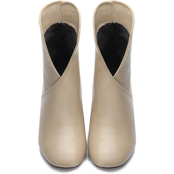 Yoins Apricot Leather look Cross Chunky Heels Short Boots