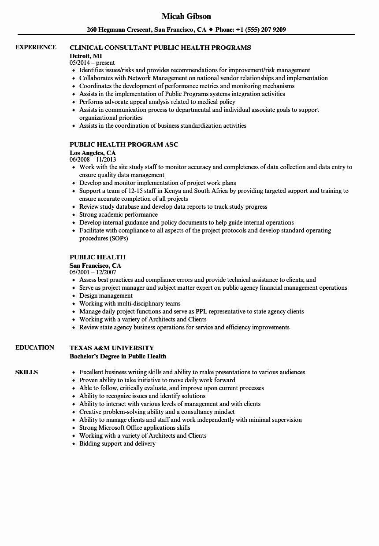 23 Public Health Resume Examples in 2020 Job resume