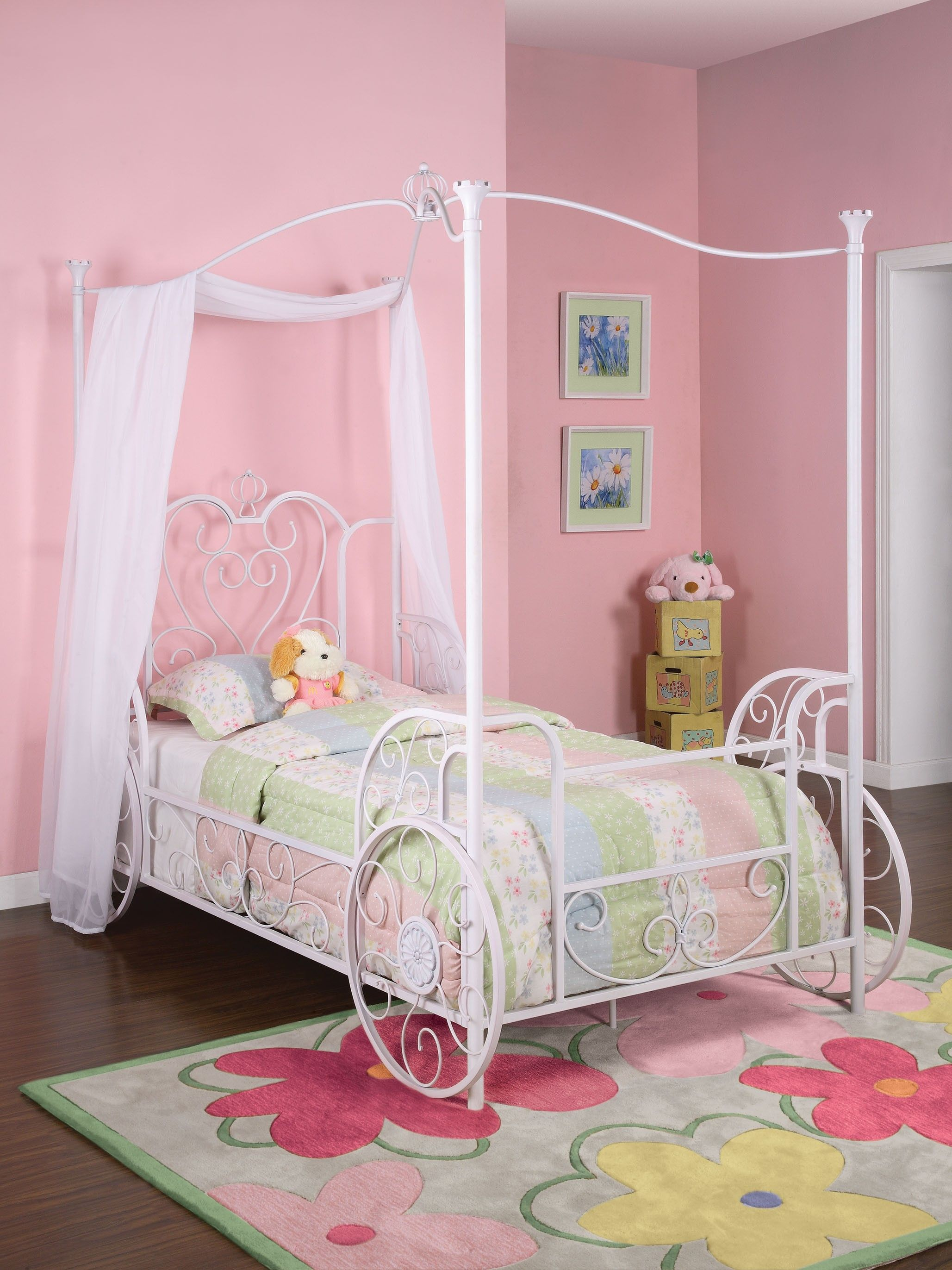 White Princess Emily Canopy Twin Size Bed Powell Furniture