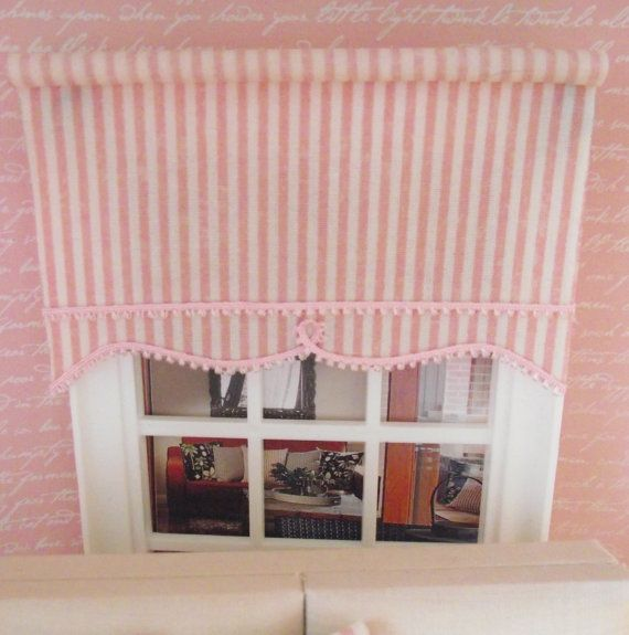 Miniature Doll House 12th Scale Floral Roller Blind Edged With Etsy Miniature Dolls Doll House Striped Roller Blinds