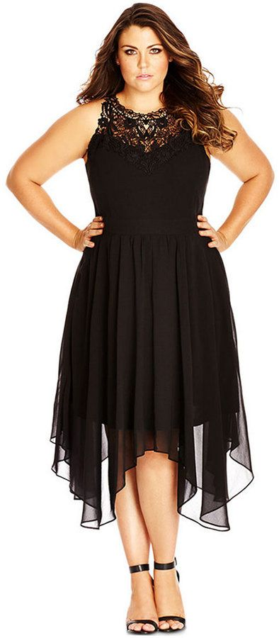 Plus Size Lace-Yoke Empire-Waist Dress | Plus Size Fashion ...