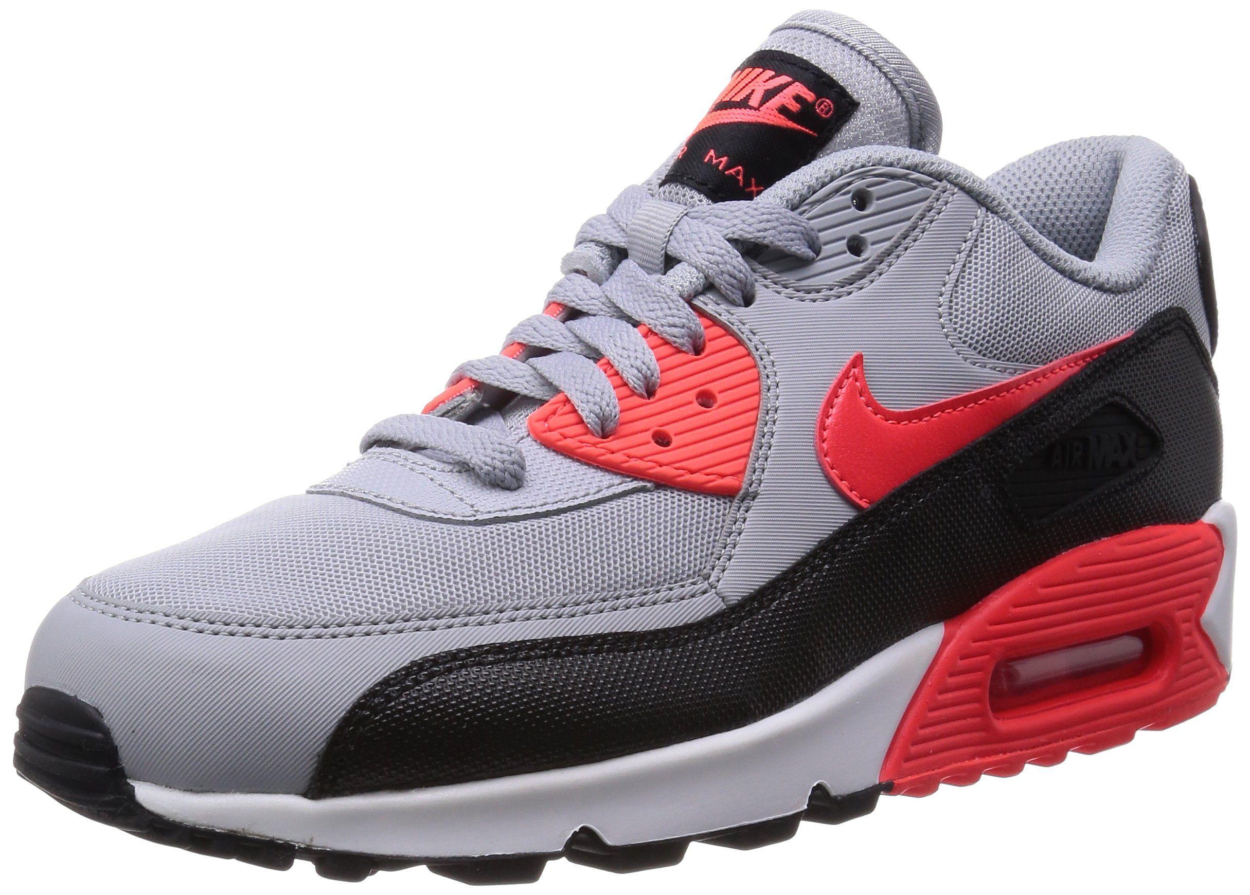 new style 855f8 0de81 Nike Womens Air Max 90 Essential Wolf Grey Infrared Black White Running Shoe