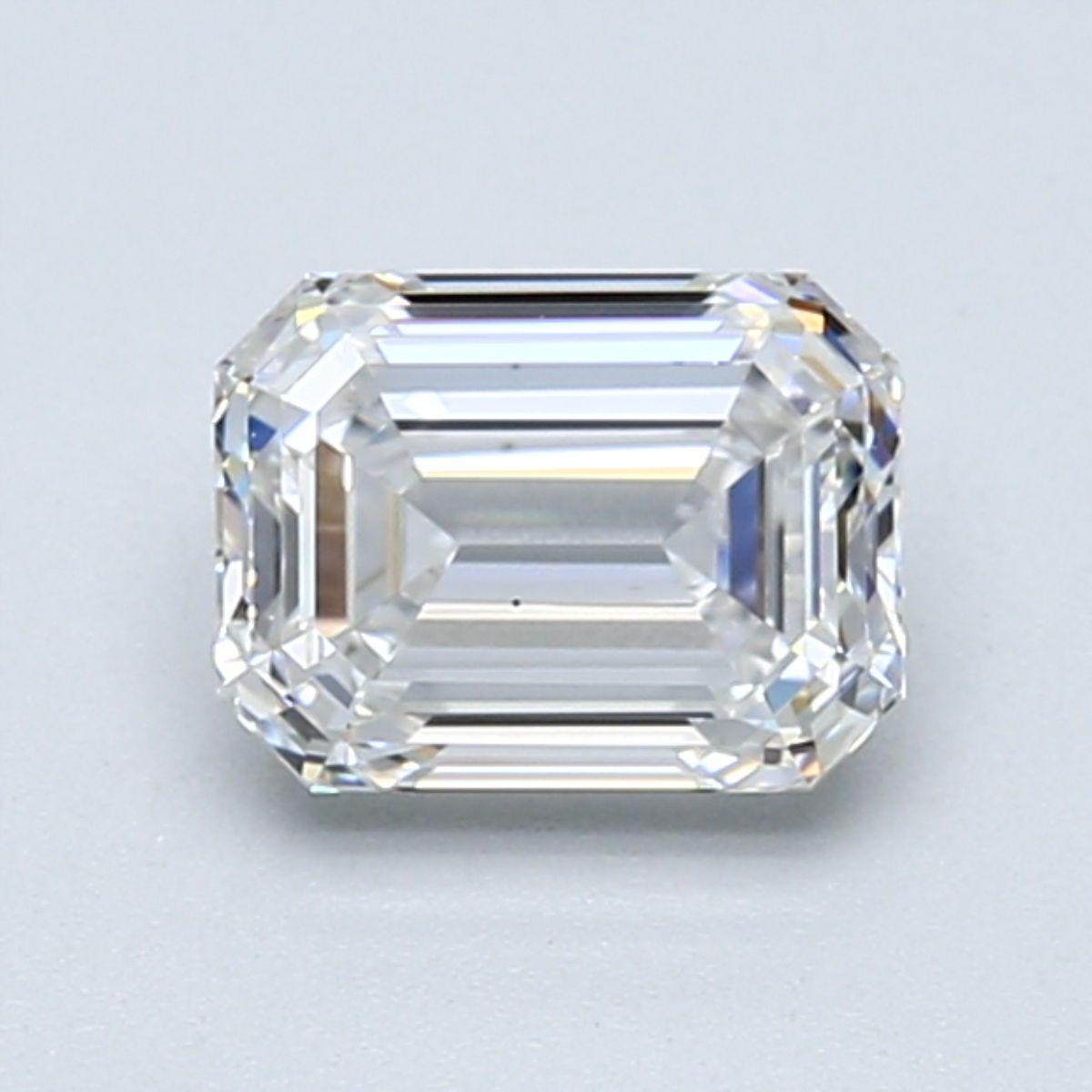 1.21 carat Emerald, Very Good Cut, F Color VS2 Clarity diamond. GIA Certified.