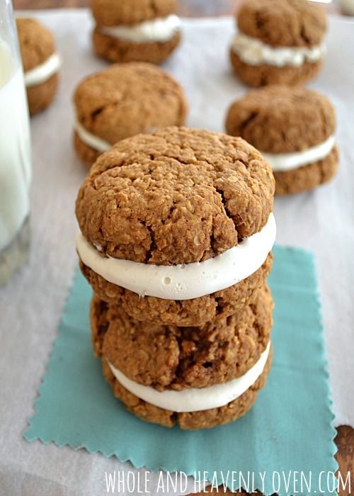 If you love store-bought Little Debbie oatmeal creme pies, you're going to fall head-over-heels in love with this super-easy copycat version!  They taste even better than store-bought! | wholeandheavenlyoven.com