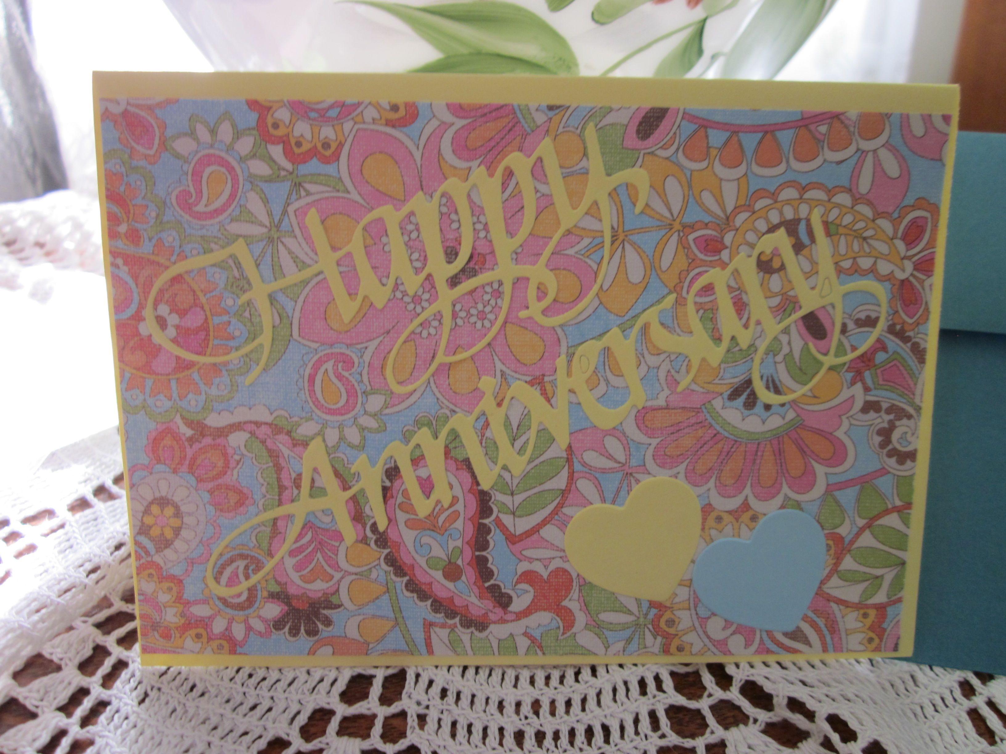 happy anniversary cardbright yellows and paisley