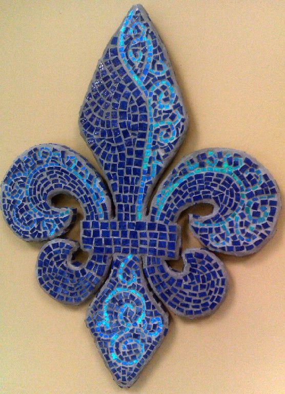 Blue Fleur De Lis Mosaic Art