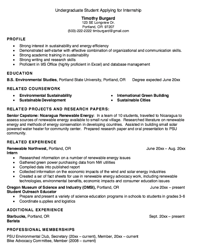 resume undergraduate student applying for internship