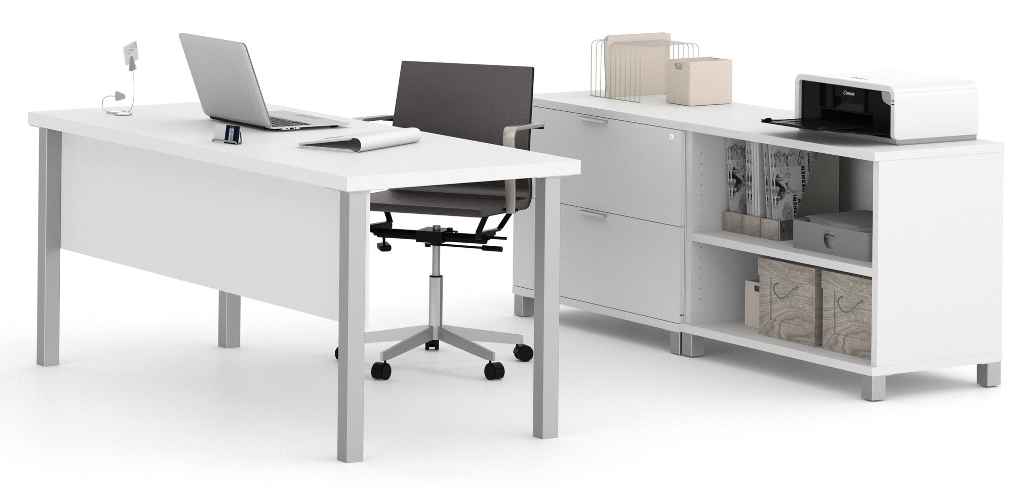 Executive office table with glass top ariana piece ushape desk office suite  products  pinterest