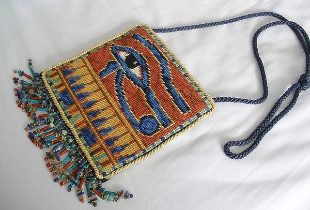 Egyptian Bag (stitched to commemorate a trip to Egypt in November 1999. From a design in a book by Candace Bahouth).