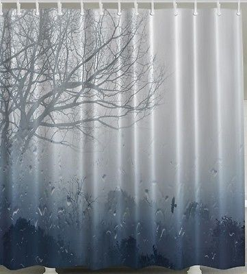 Rain Shower Curtain Weather Clouds Storm Woods Forest Trees Fabric