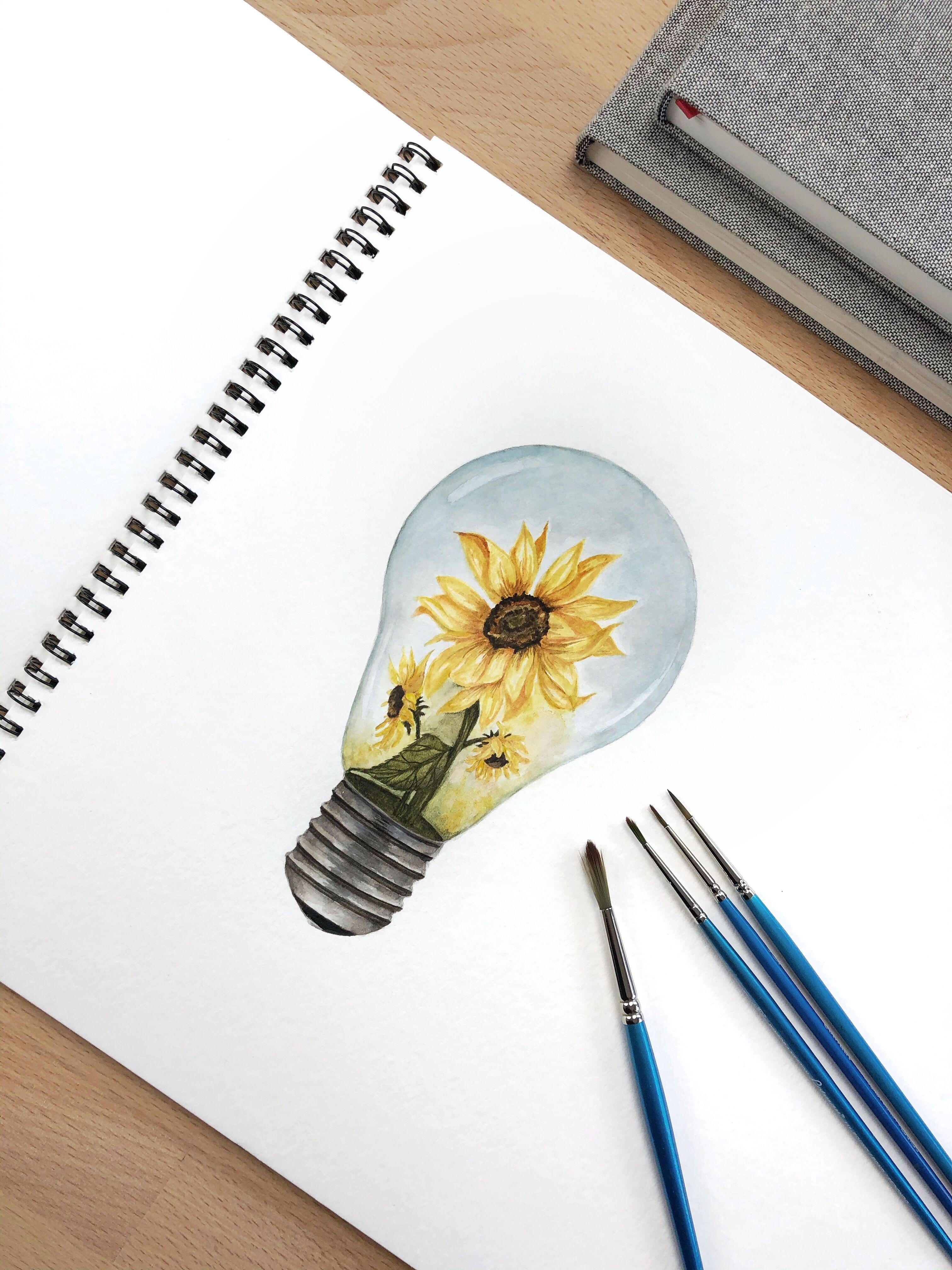 Sunflowers In A Lightbulb Watercolor Illustratio Sunflower