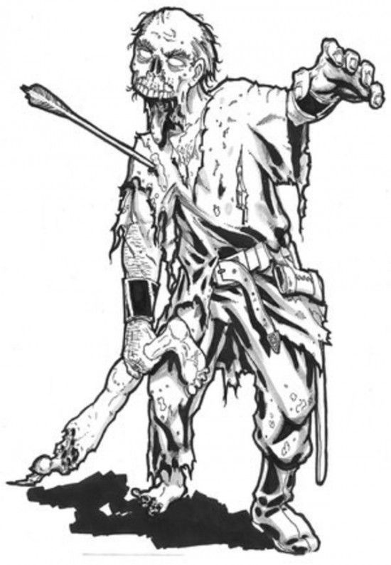 Line Drawing Of A Zombie : Zombie coloring pages picture g