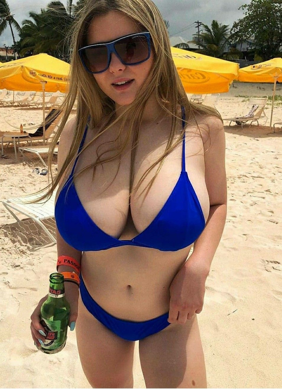 Extremely large boobs beach bikini babes