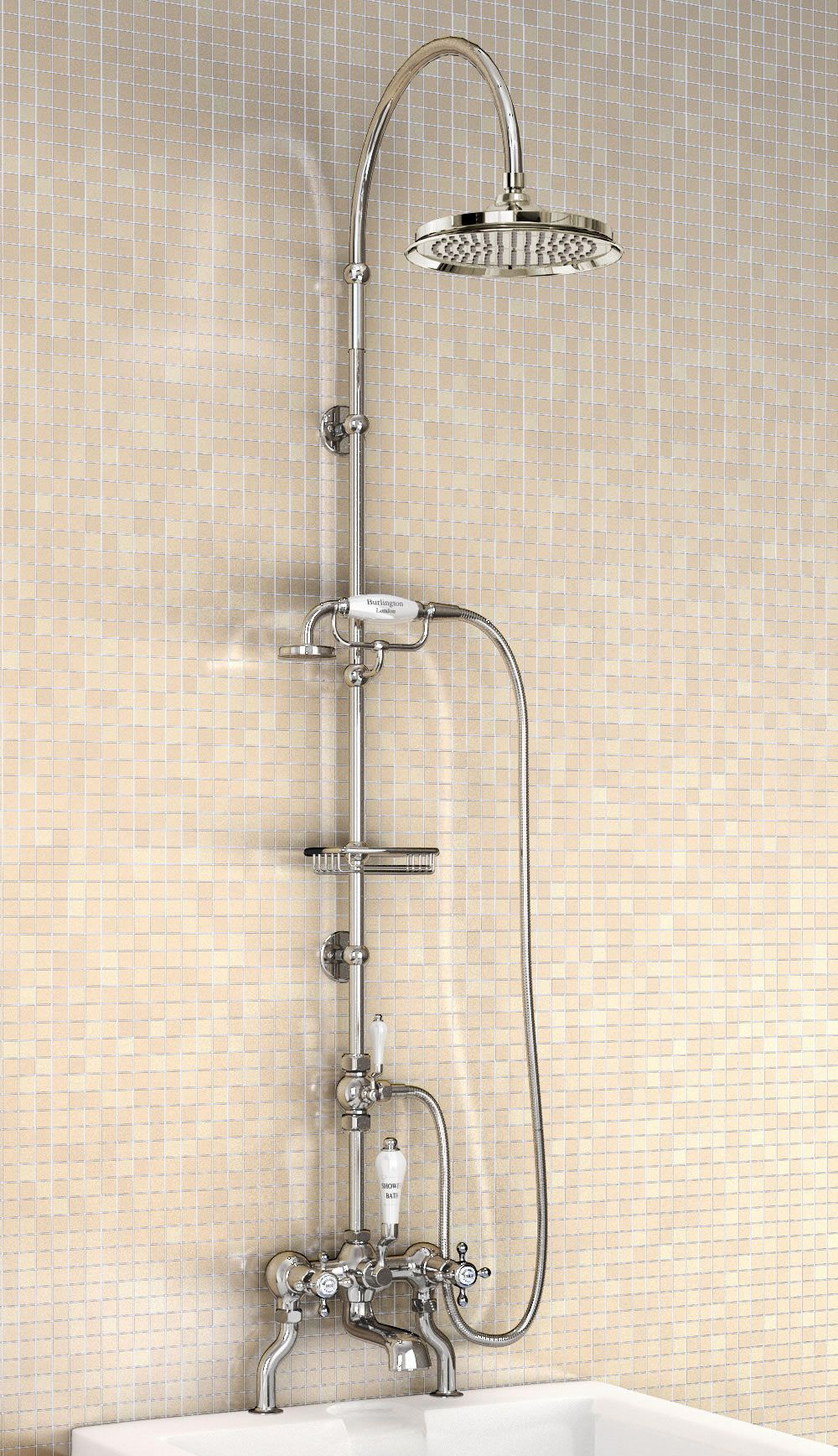 Shower Bath Taps Combined burlington bath shower mixer with rigid riser-curved arm and 9 inch