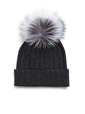 92d9e1ae2d5222 Saks Fifth Avenue Dyed Fox Fur and Cashmere Soft Cap - Camel - Size ...