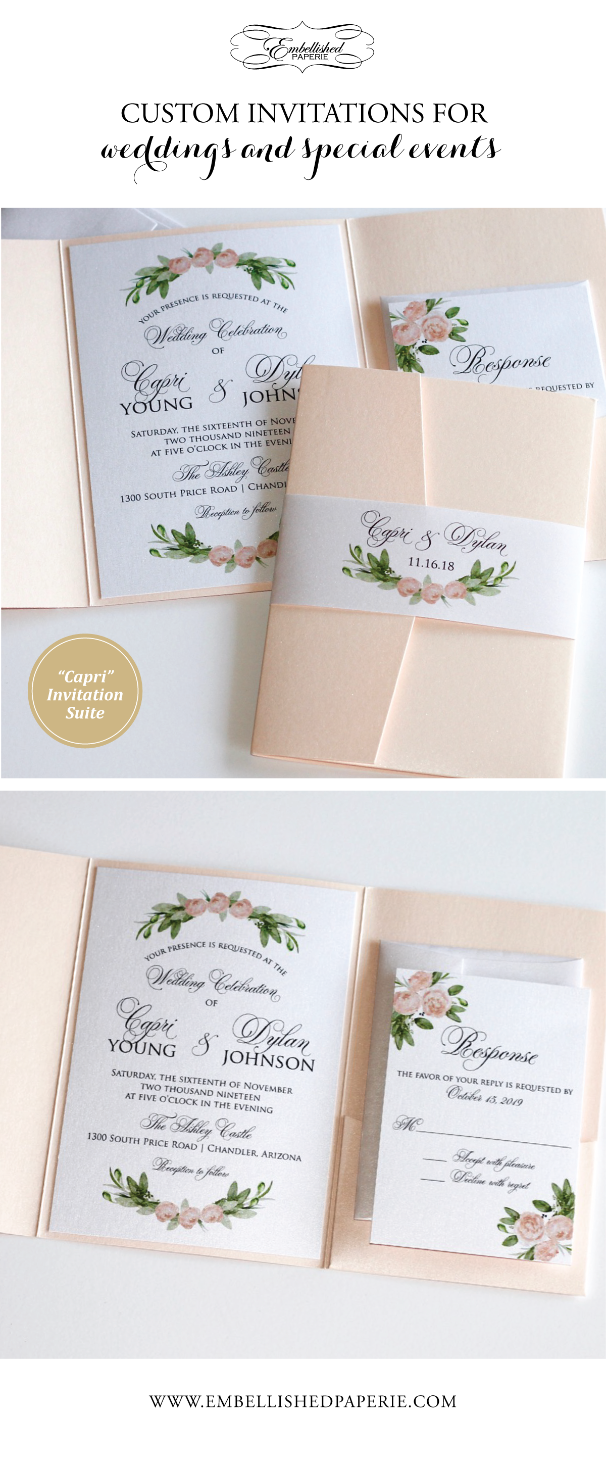 Blush Watercolor Flower Wedding Invitation - Greenery Wedding ...
