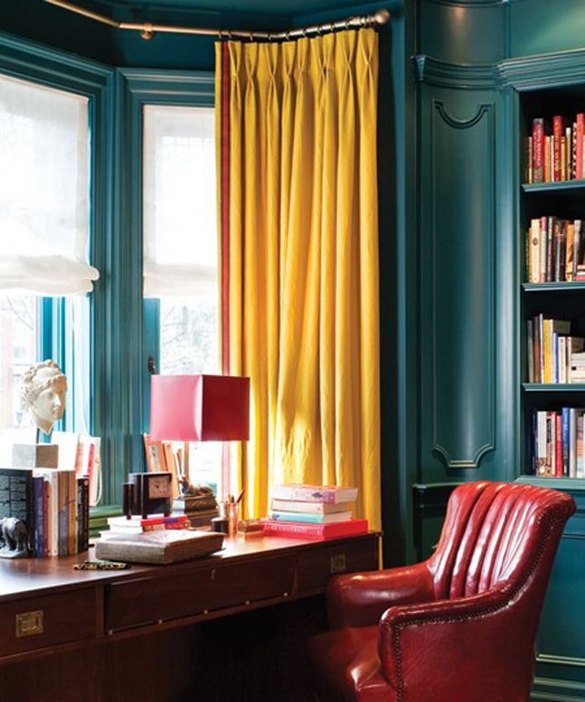 Somehow The Teal Wall Paired With Mustard Curtain And Red Leather Chair Gives This Office Style Sophistication You Re Looking For