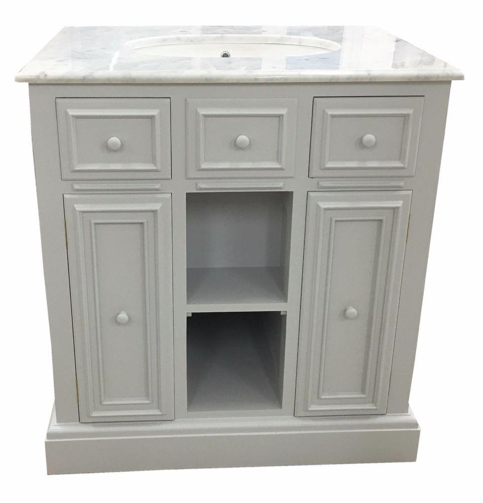 Traditional Painted English Single Sink Bathroom Vanity Cabinet Unit