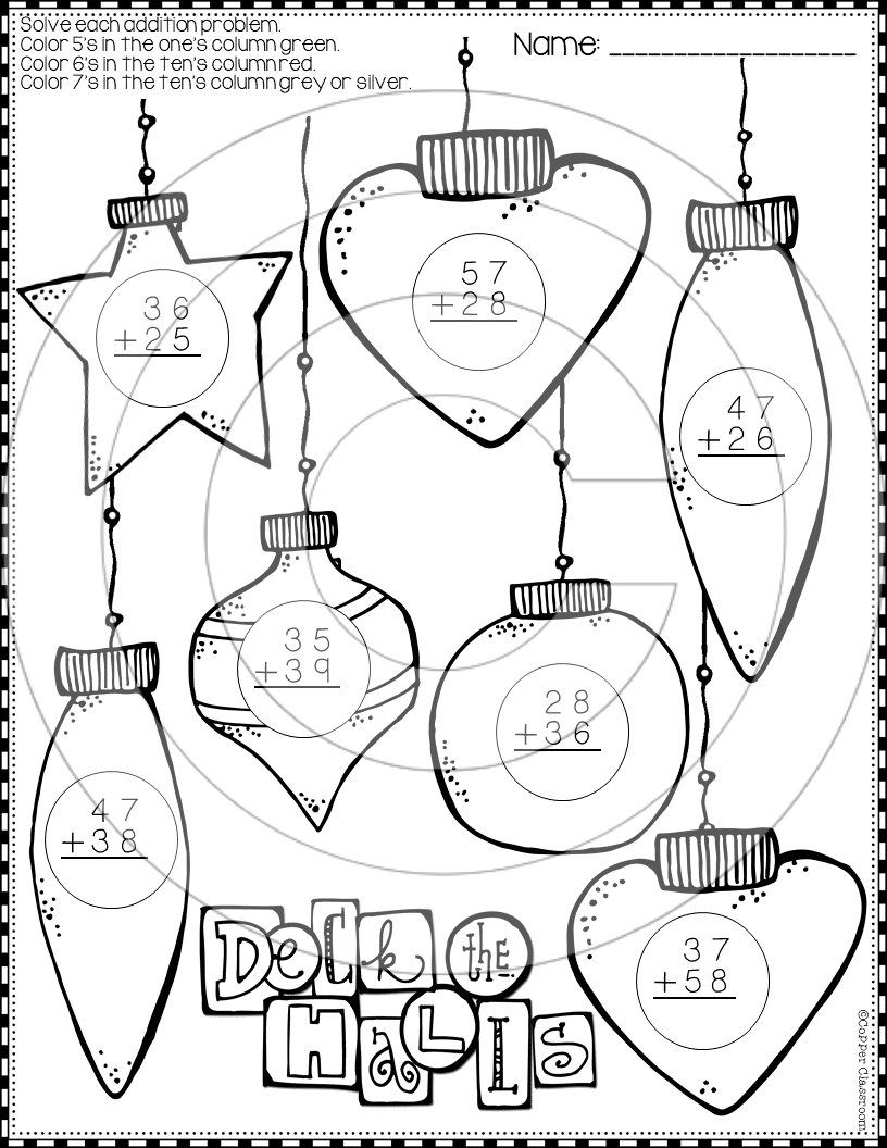 Christmas 2-Digit Addition with Regrouping Color-by-Code