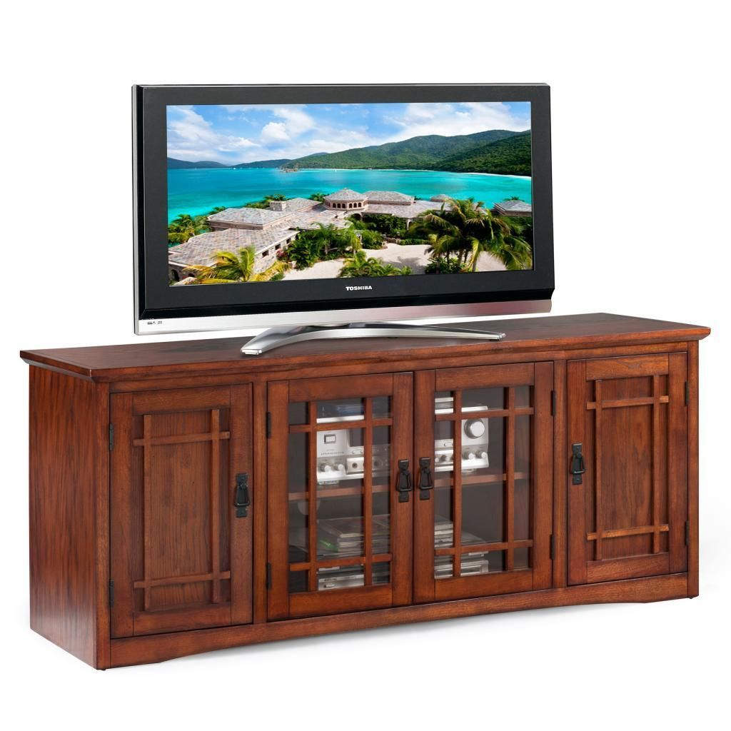 Mission Oak Hardwood TV Stand   Overstock Shopping   Great Deals On KD  Furnishings Entertainment Centers
