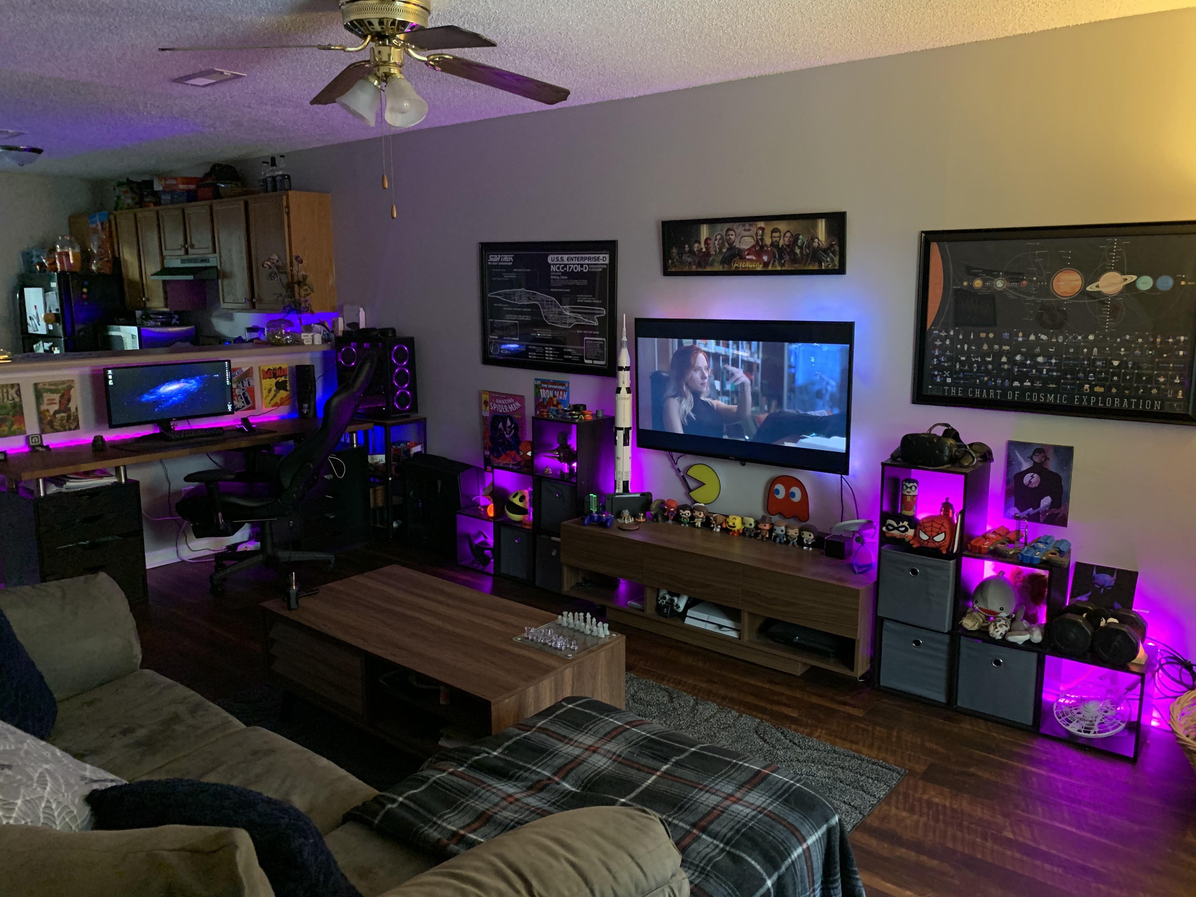 My Living Room Battle Station Living Room Setup Video Game Room Design Game Room Kids