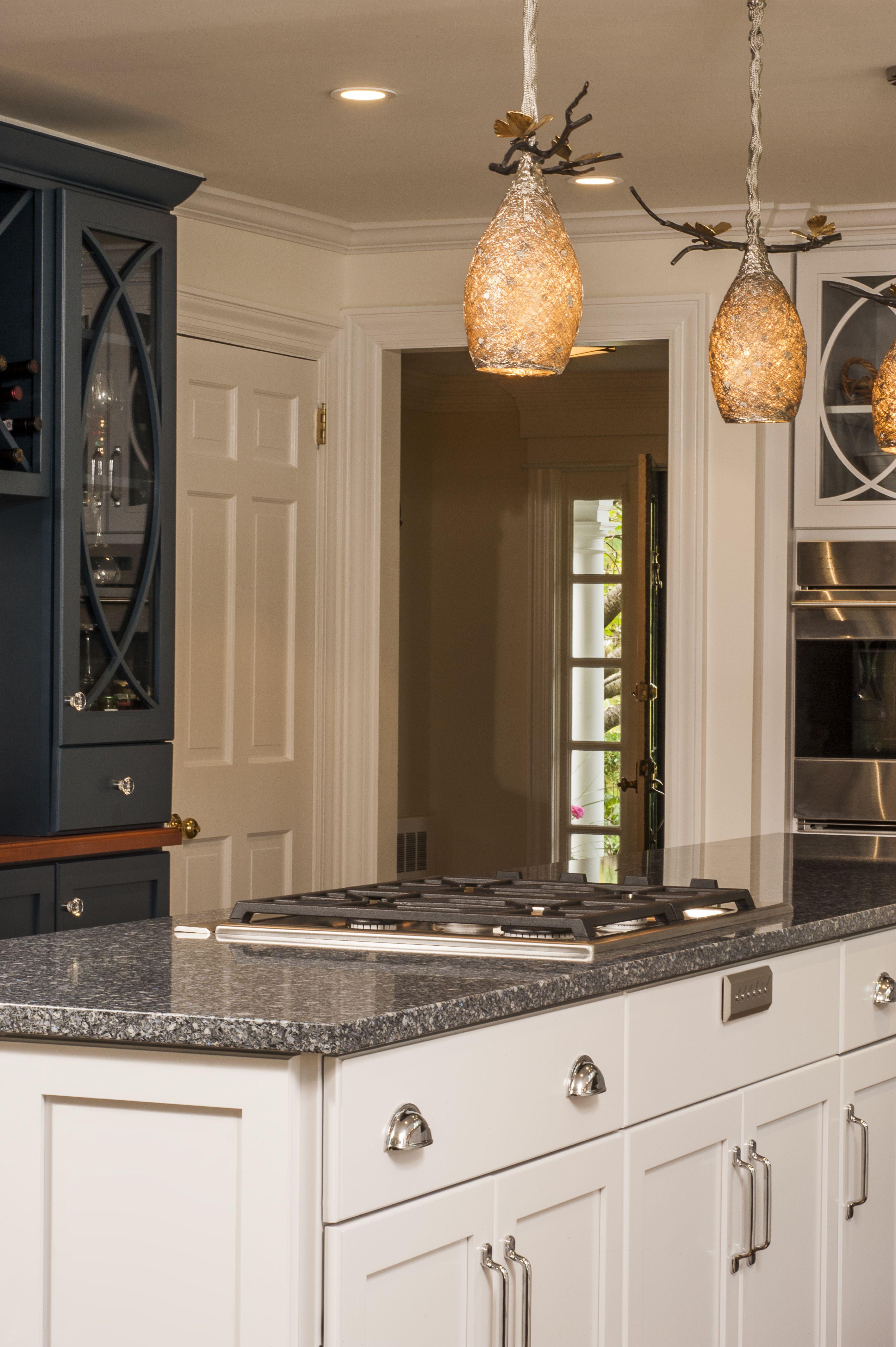 White Kitchen Cabinetry Center Island With Cambria Parys Blue Counter Tops Longislandkitchen Longislandluxurykitche Attic Remodel Attic Design Attic Flooring
