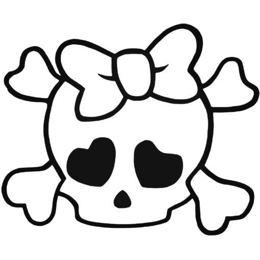 Skulls S Skull And Crossbones Cute Girl Bow Tie Style 5 Decal Skull Coloring Pages Skull Stencil Skull Template