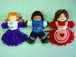 ARTE COM QUIANE - Paps,Moldes,E.V.A,Feltro,Costuras,Fofuchas 3D: Bonequinha feita de lã com passo a passo