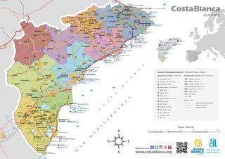 Mapa Provincia De Alicante.Mapa De La Provincia De Alicante Costa Blanca Espana