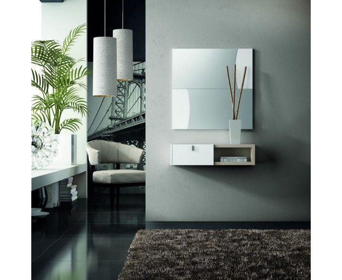 conjunto recibidor de lnea actual compuesto de espejo mueble consola con cajn y