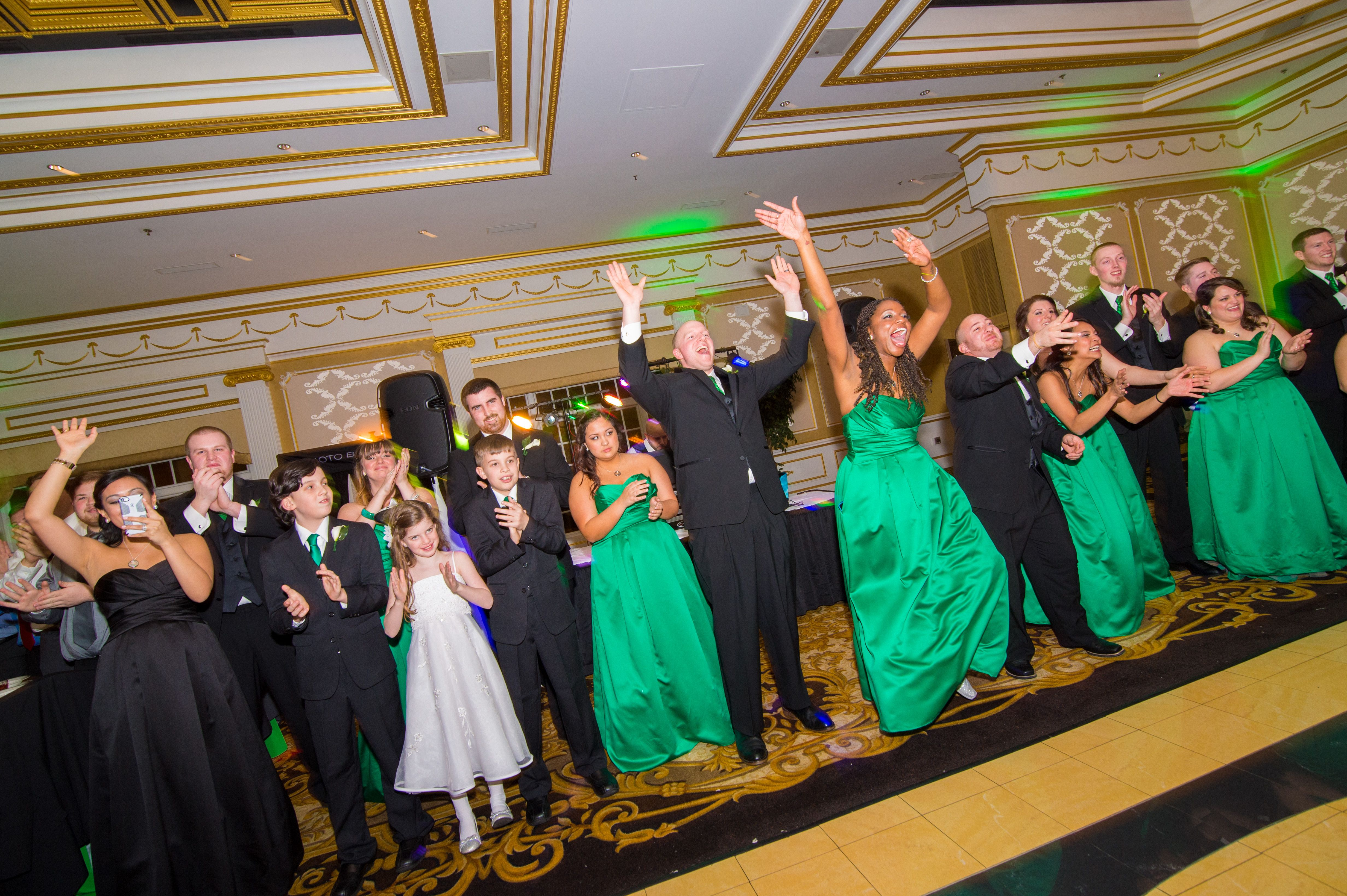 Bridal party on the dance floor rock the aisle bridal