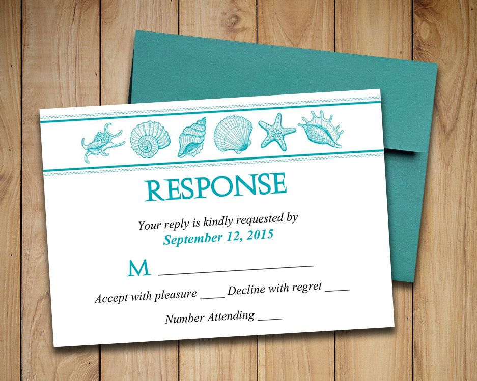 Beach Wedding RSVP Template Seashell Response