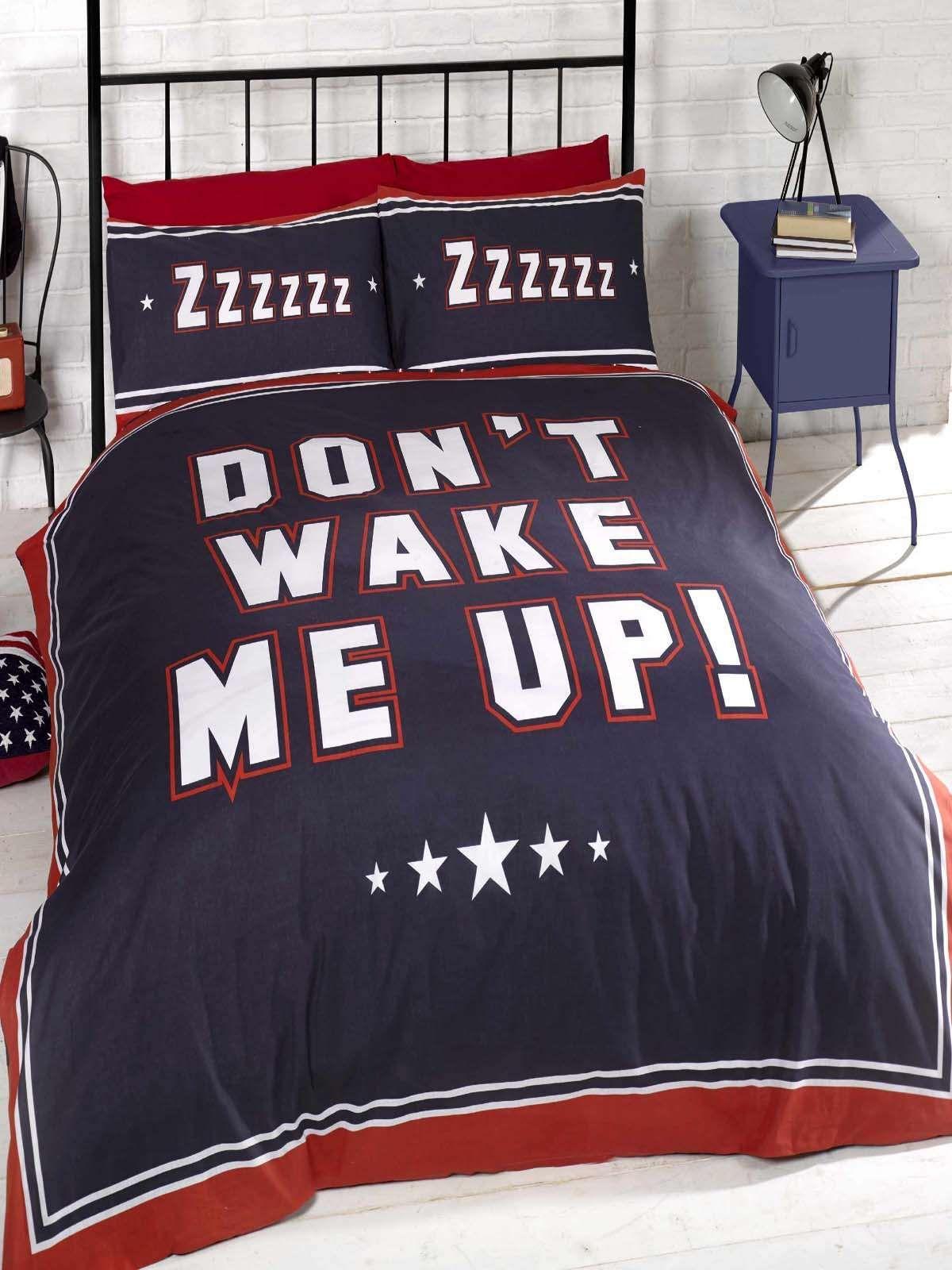 Dont Wake Me Up Double Duvet Cover Set Duvet Cover Sets Navy
