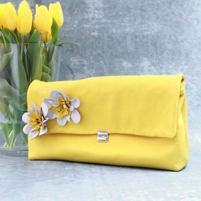 Leather Business Clutch Yellow