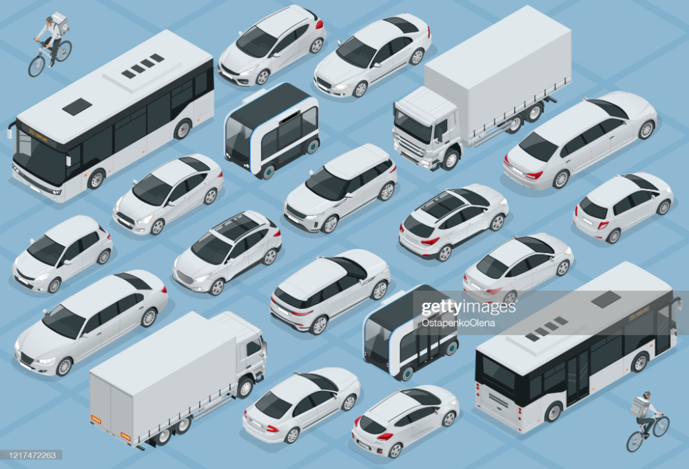 Flat 3d Isometric High Quality City Transport Car Icon Set Bus In 2021 Bicycle Courier Car Icons Isometric