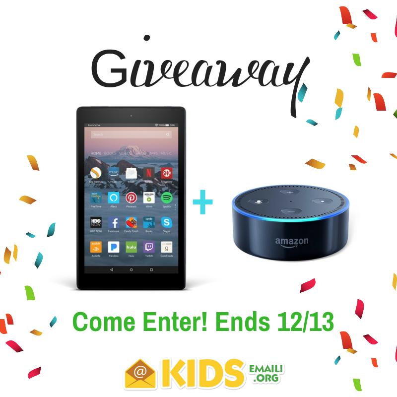 Echo+Dot+%2B+Kindle+Fire+7+Giveaway | sweepstakes | Gift card