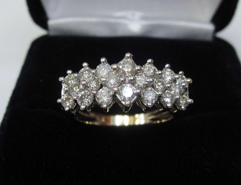 Ct natural round diamond cluster pyramid anniversary ring k