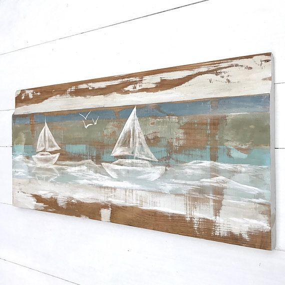 NAUTICAL WALL ART - Rustic Wall Decor - Beach House Decor - Wood ...