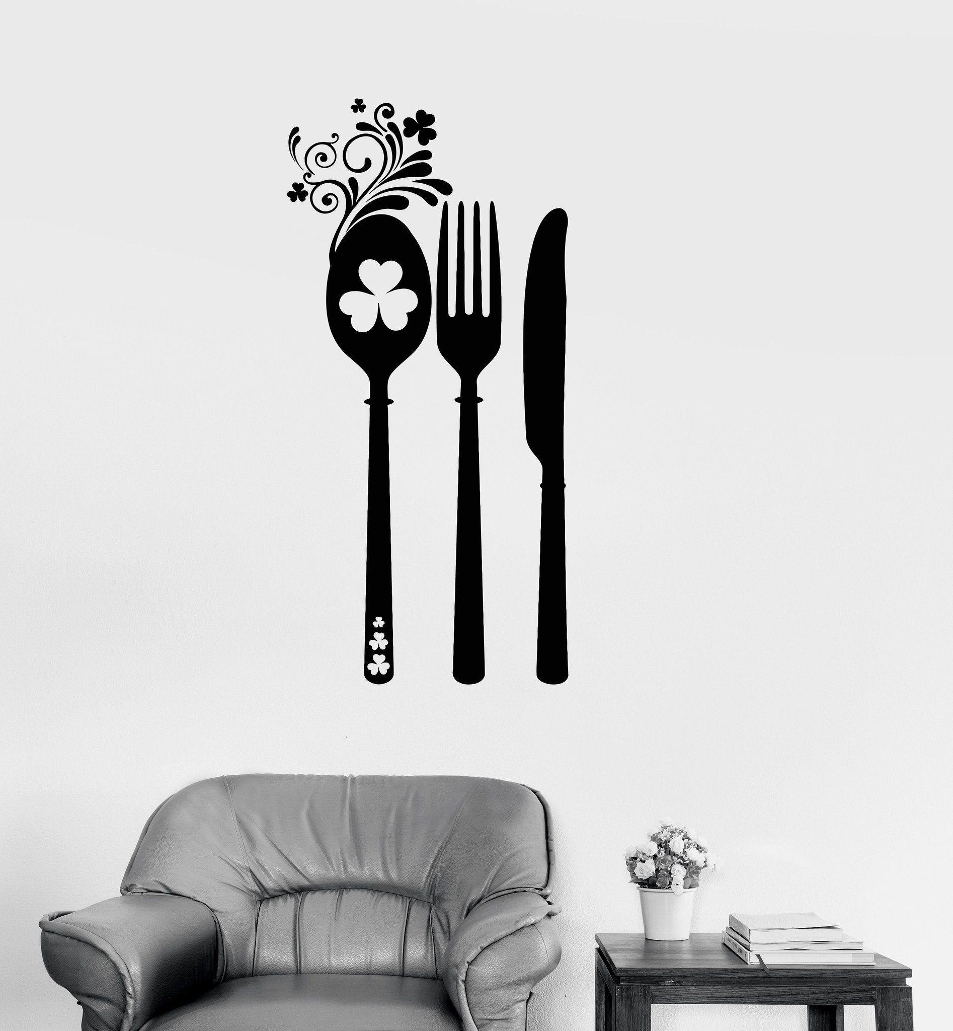 Vinyl Wall Decal Irish Cutlery Shamrock Kitchen Patterns