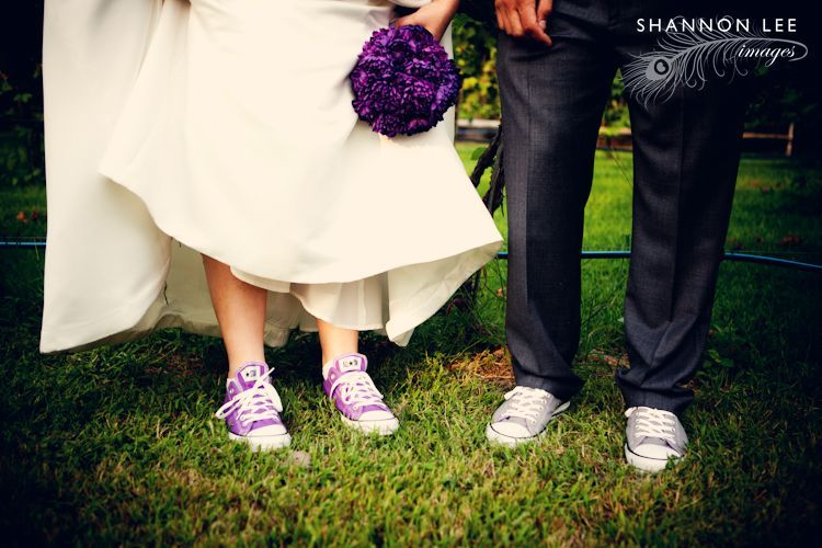 Purple and Grey Chuck Taylor shoes for