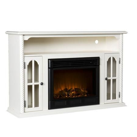 Parkwood Electric Fireplace Media Console Antique White For The
