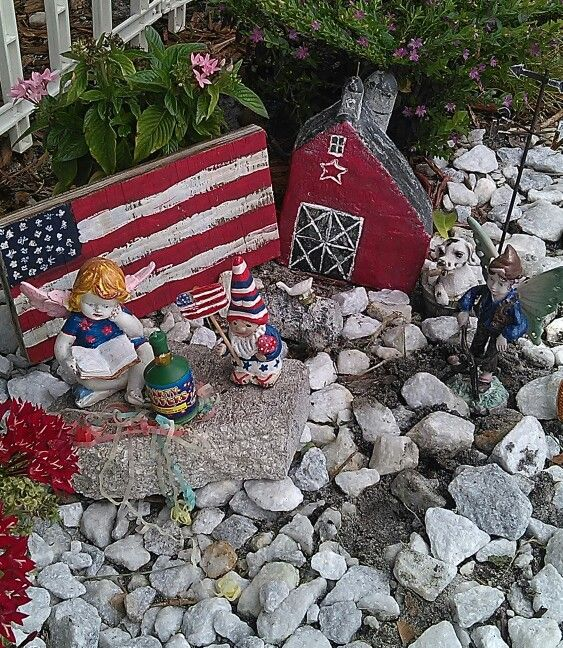Fourth of July fairy and gnome garden. Christmas