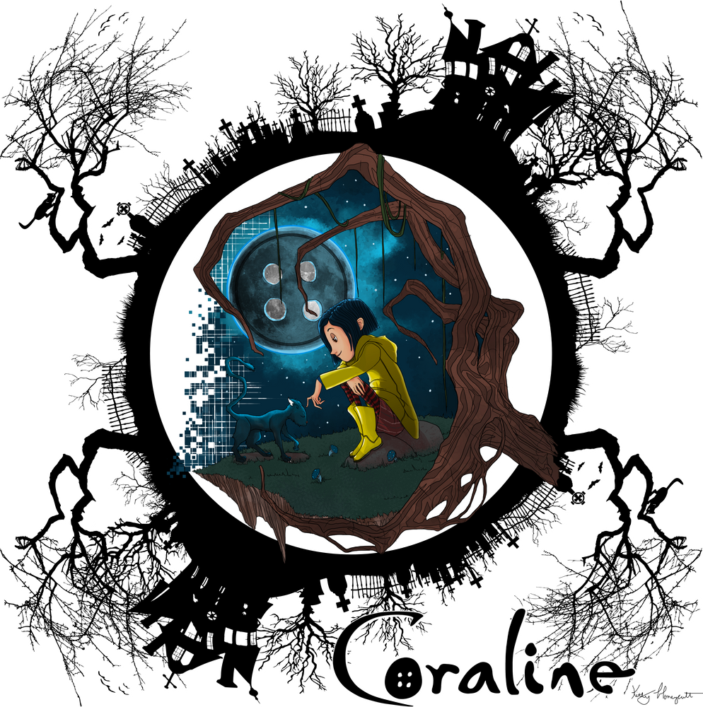 Coraline Sticker By Bearwood Designs White 3 X3 In 2020 Coraline Art Coraline Drawing Art Wallpaper