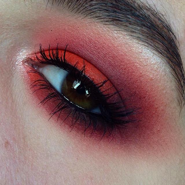 Rachel Coffey Makeup Portfolio Red Smokey Eye With Blue Lips