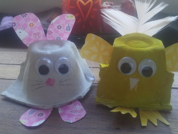 Easter Paper Crafts For Kids Make A Bunny And Chick Out Of Egg
