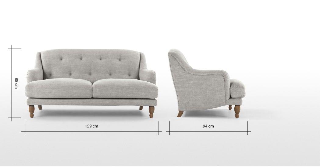Ariana 2 Seater Sofa Chic Grey Made Com Canape 2 Places Canape Gris Clair