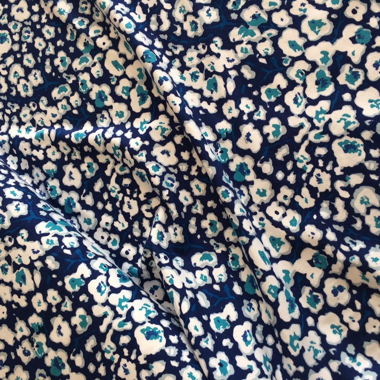 Cherry Blossom Stretch Jersey Fabric in Blue