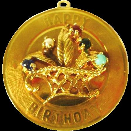 14 kt Gold 'Happy Birthday' Charm