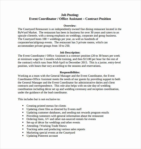 Event Coordinator Assistant Resume Luxury 8 Sample Event Coordinator Resumes In Pdf In 2020 Event Planning Contract Event Coordinator Job Description Event Coordinator