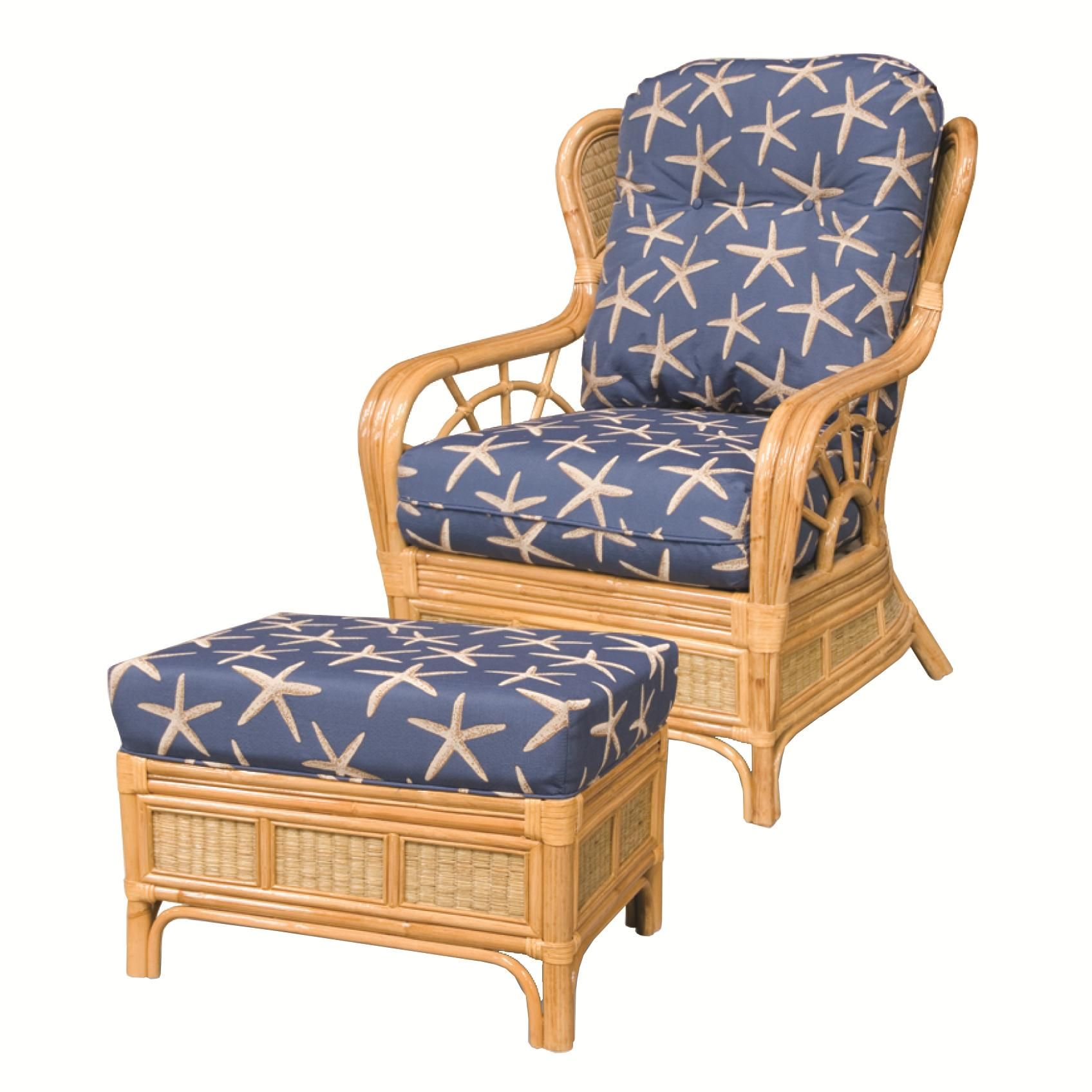 Beautiful 381 Collection Wicker Rattan Chair And Ottoman By Capris Furniture
